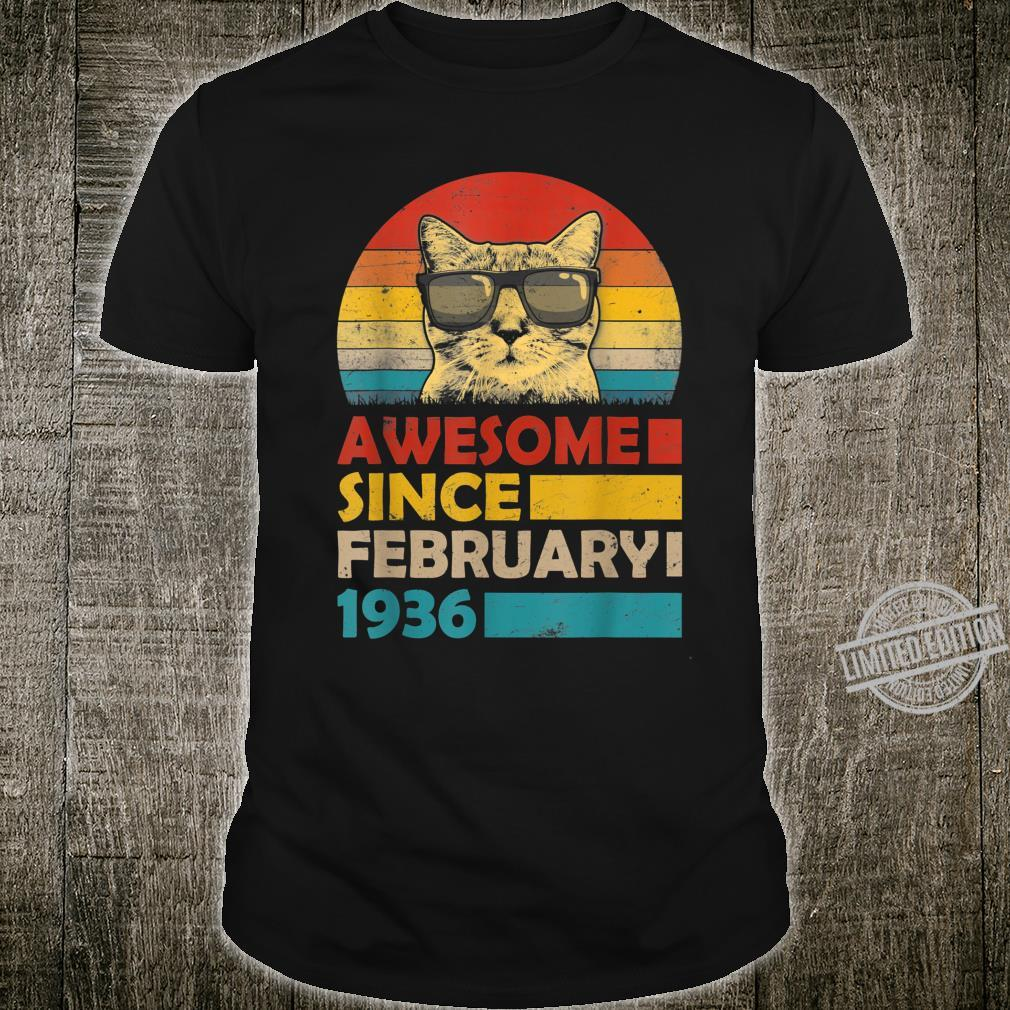 Awesome Since February 1936 84th Birthday Cat Shirt