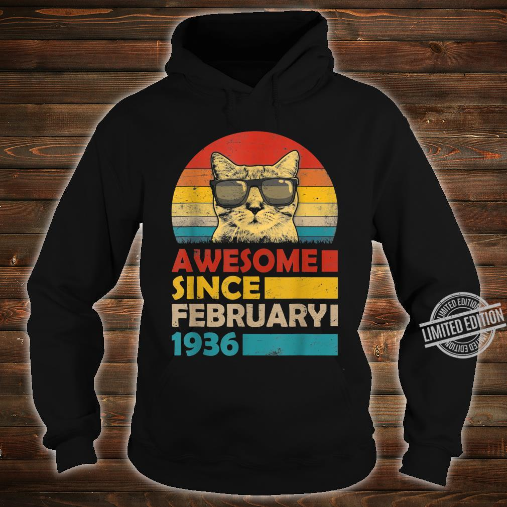 Awesome Since February 1936 84th Birthday Cat Shirt hoodie