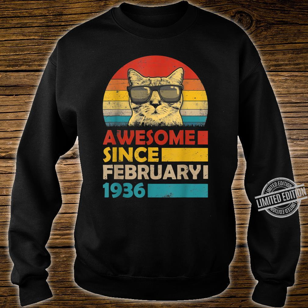 Awesome Since February 1936 84th Birthday Cat Shirt sweater