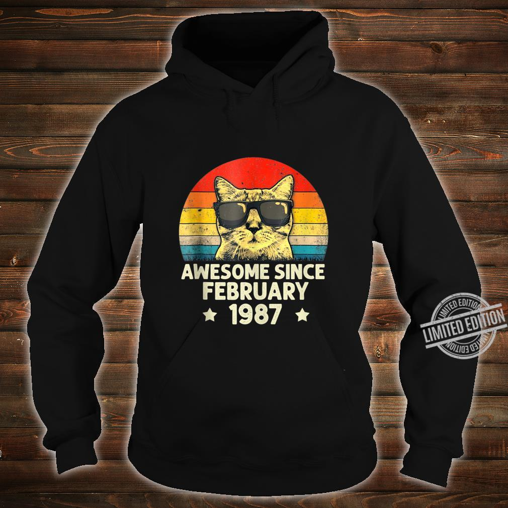 Awesome Since February 1987 33rd Birthday Cat Shirt hoodie