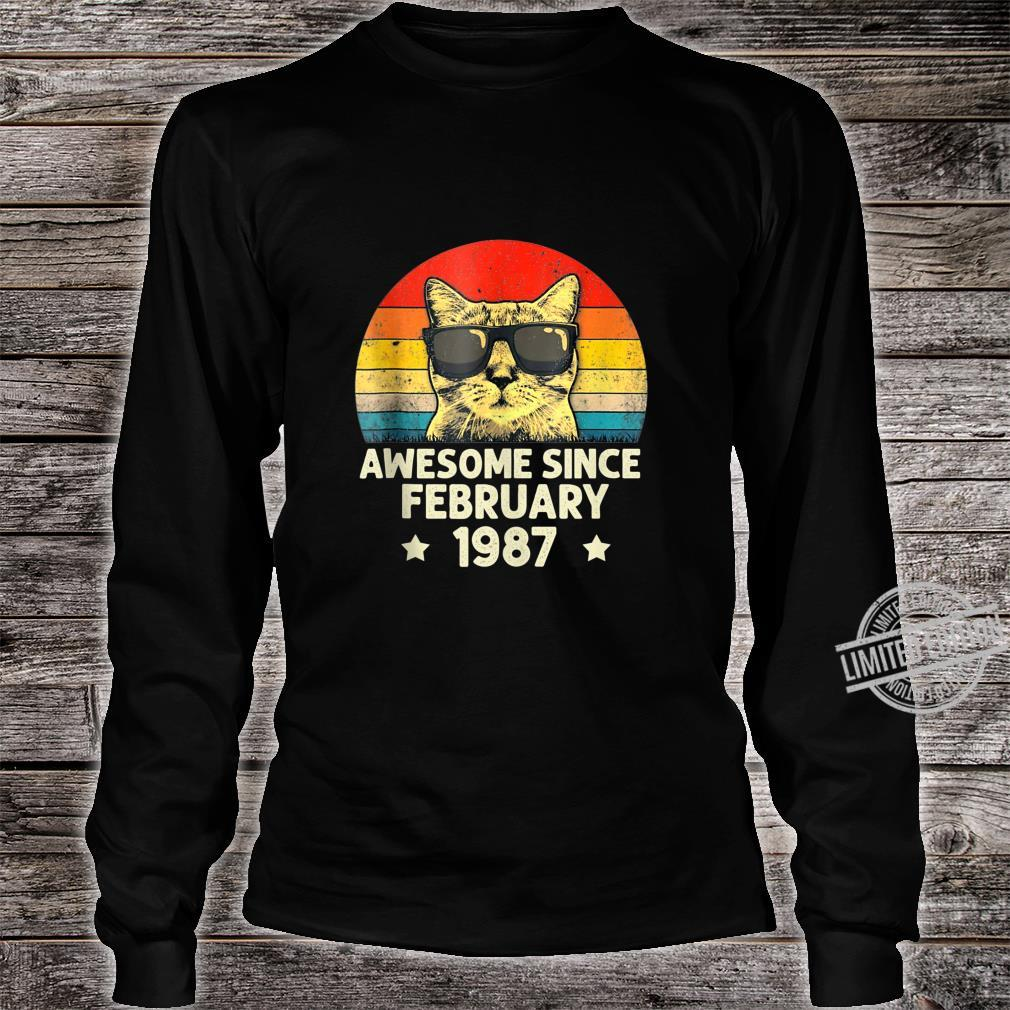 Awesome Since February 1987 33rd Birthday Cat Shirt long sleeved