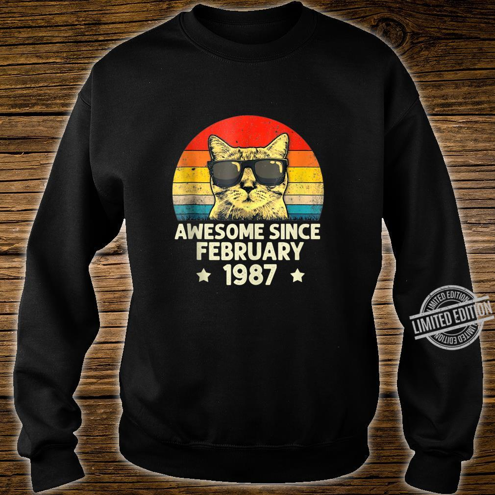 Awesome Since February 1987 33rd Birthday Cat Shirt sweater
