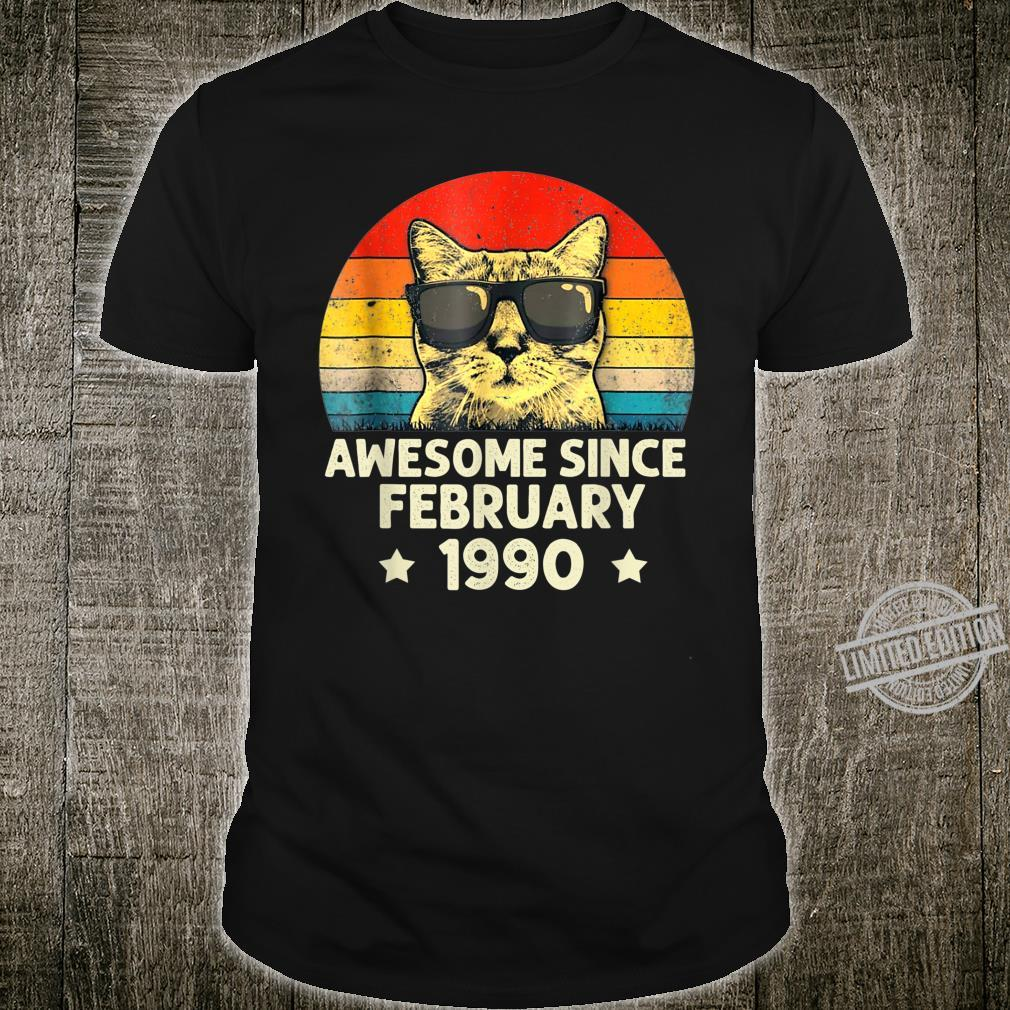 Awesome Since February 1990 30th Birthday Cat Shirt