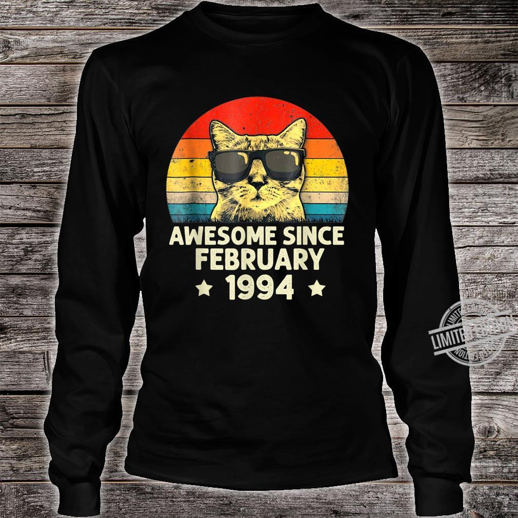 Awesome Since February 1994 26th Birthday Cat Shirt long sleeved