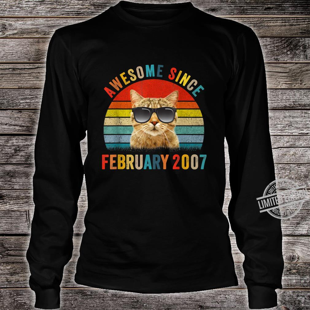 Awesome Since February Cat 2007 13th Birthday vintage Shirt long sleeved