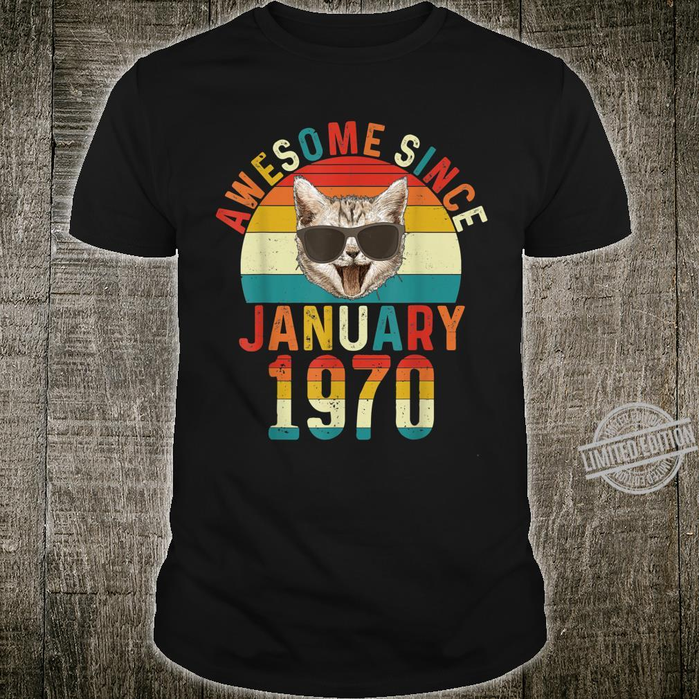 Awesome Since January 1970 50th Birthday Cat Shirt