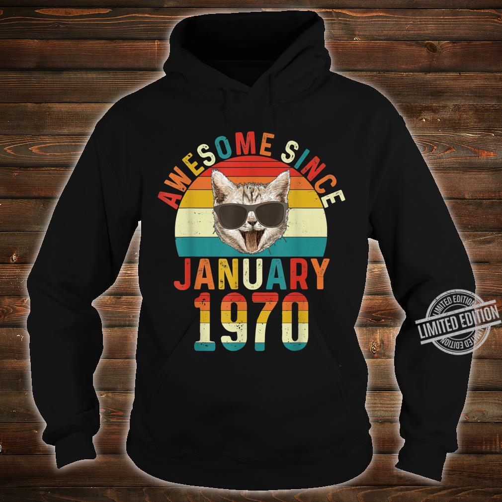 Awesome Since January 1970 50th Birthday Cat Shirt hoodie