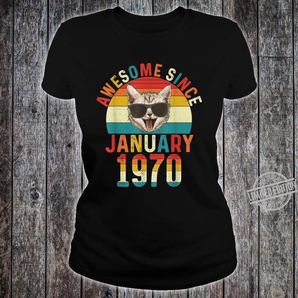 Awesome Since January 1970 50th Birthday Cat Shirt ladies tee