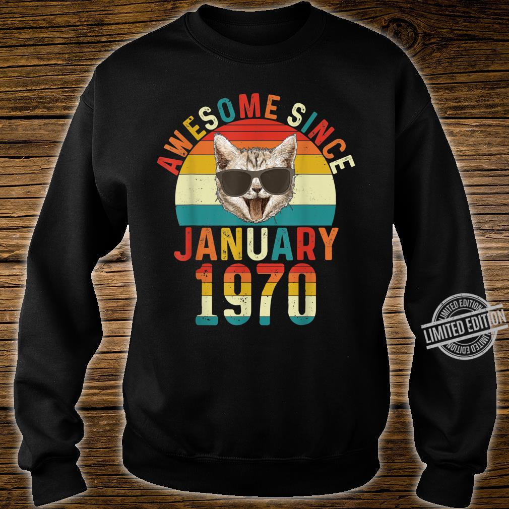 Awesome Since January 1970 50th Birthday Cat Shirt sweater