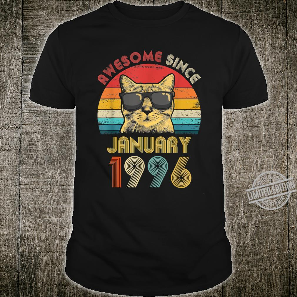 Awesome Since January 1996 24th Birthday Cat Shirt