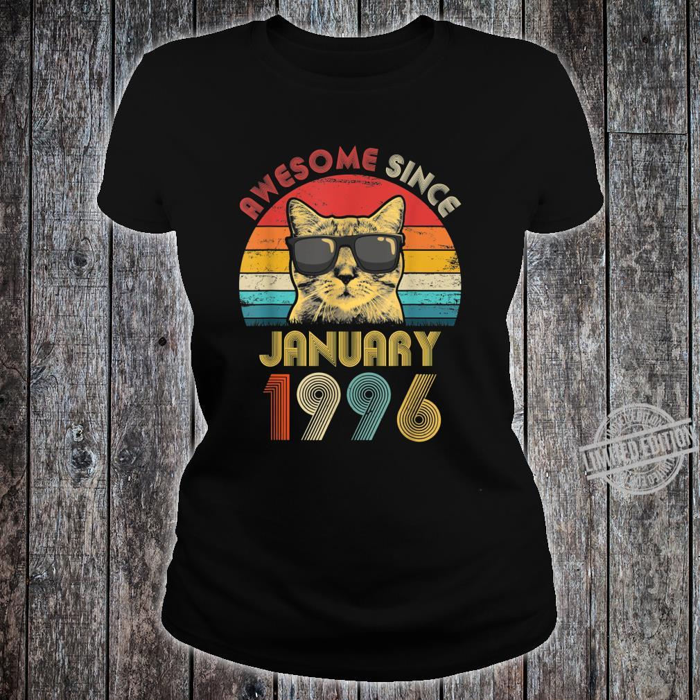 Awesome Since January 1996 24th Birthday Cat Shirt ladies tee