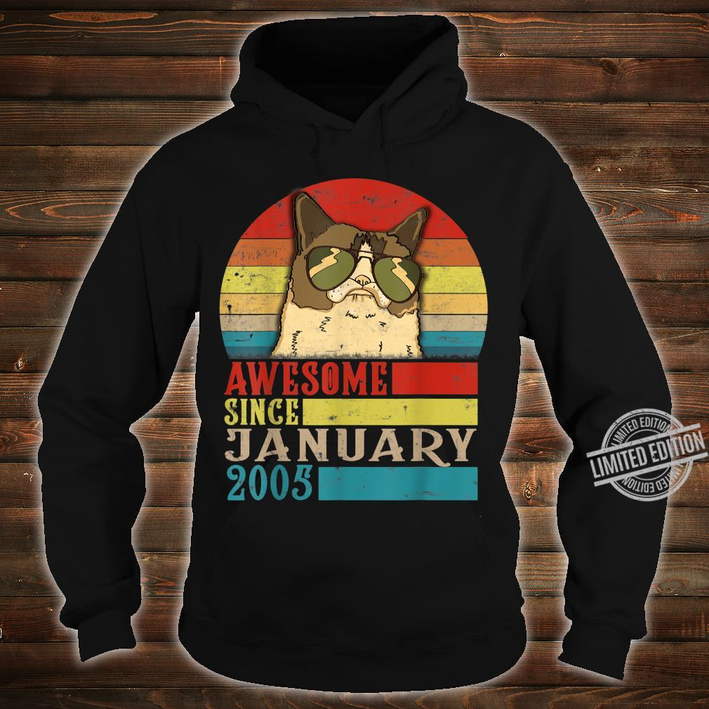 Awesome Since January 2005 15th Birthday for cats Shirt hoodie