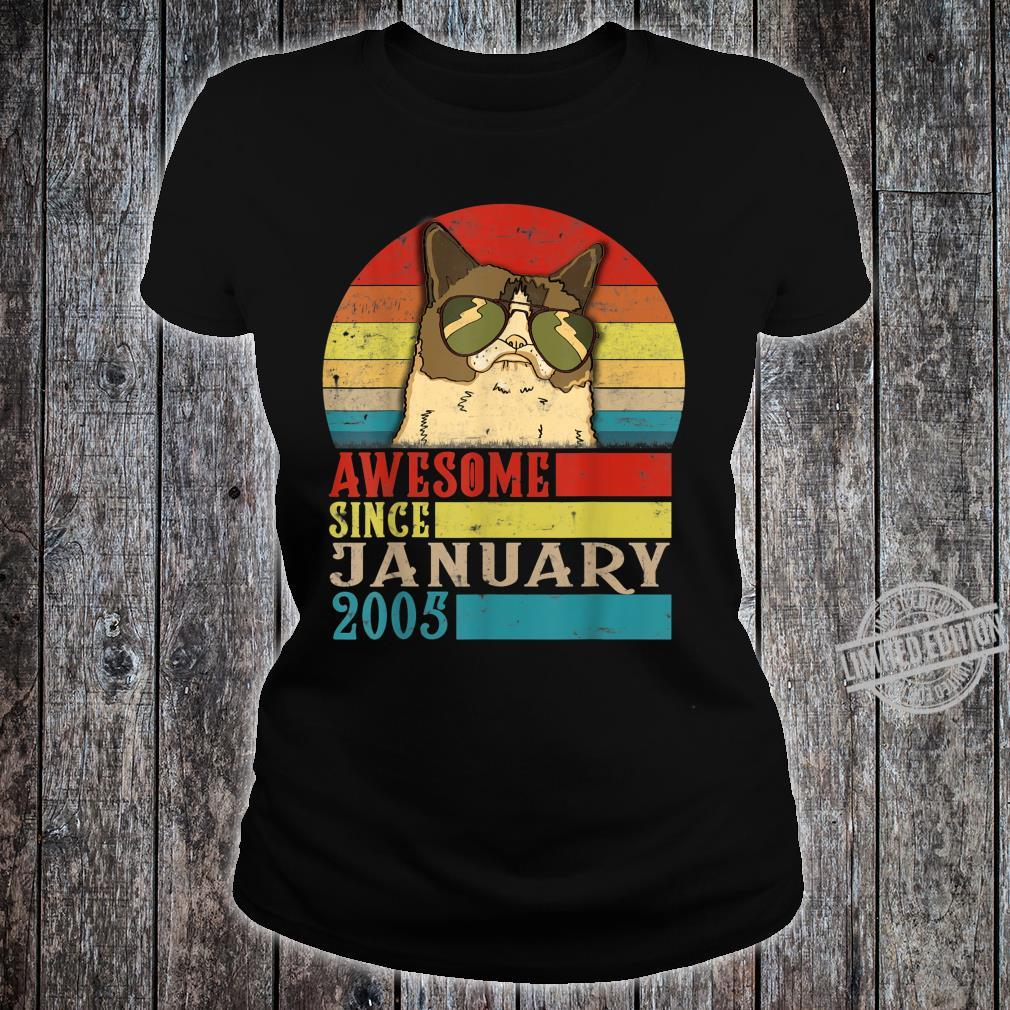 Awesome Since January 2005 15th Birthday for cats Shirt ladies tee