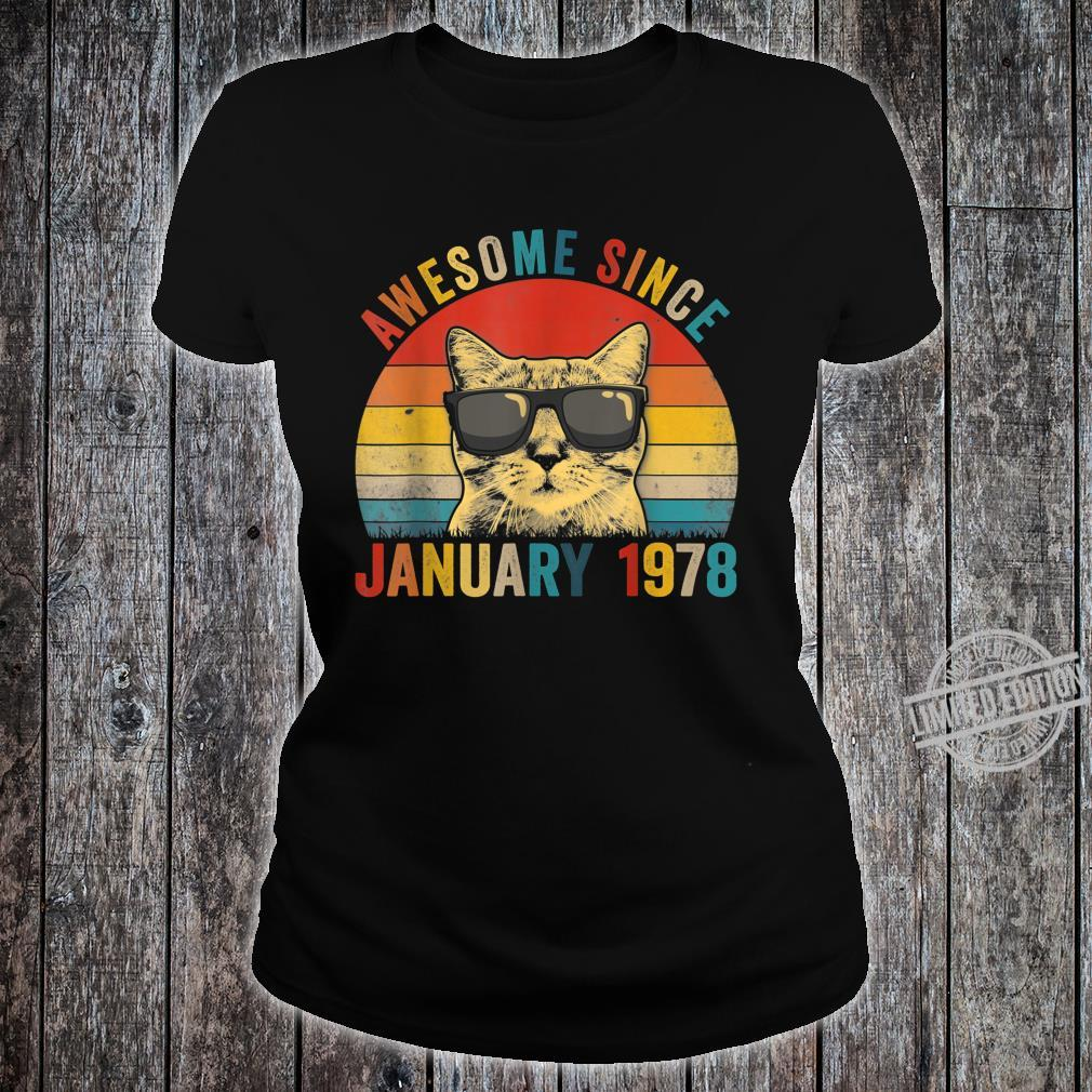 Awesome Since January Cat 1978 42nd Birthday Shirt ladies tee