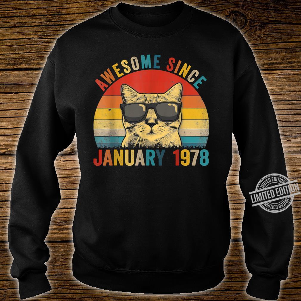 Awesome Since January Cat 1978 42nd Birthday Shirt sweater