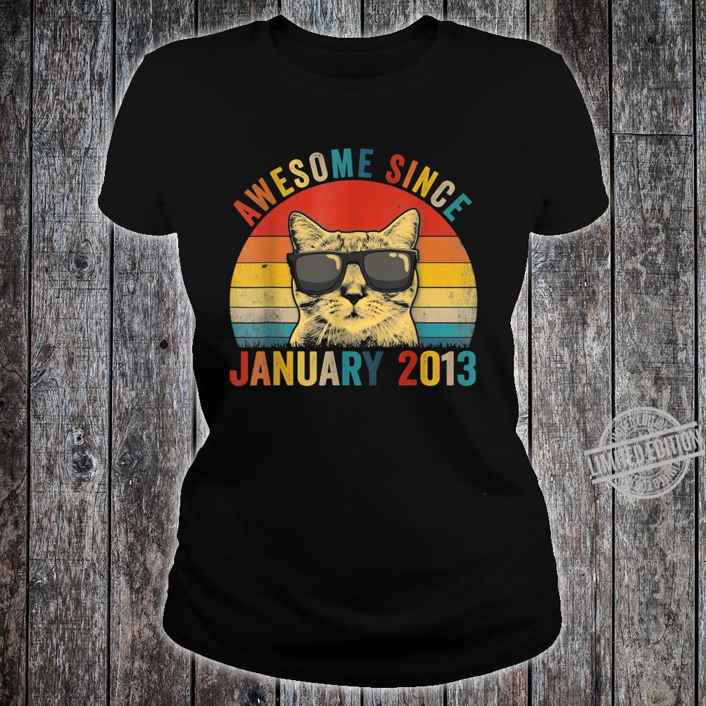 Awesome Since January Cat 2013 7th Birthday Shirt ladies tee