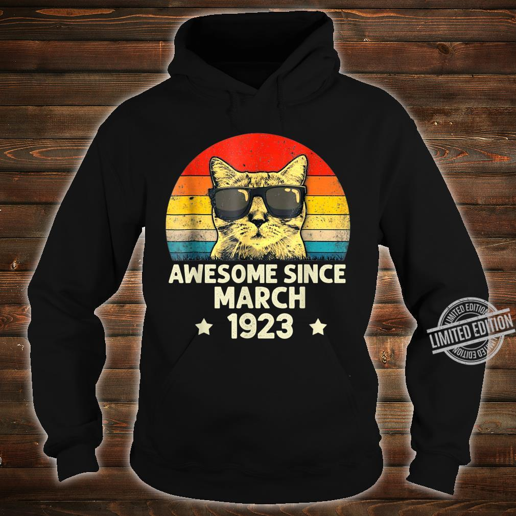 Awesome Since March 1923 97th Birthday Cat Shirt hoodie