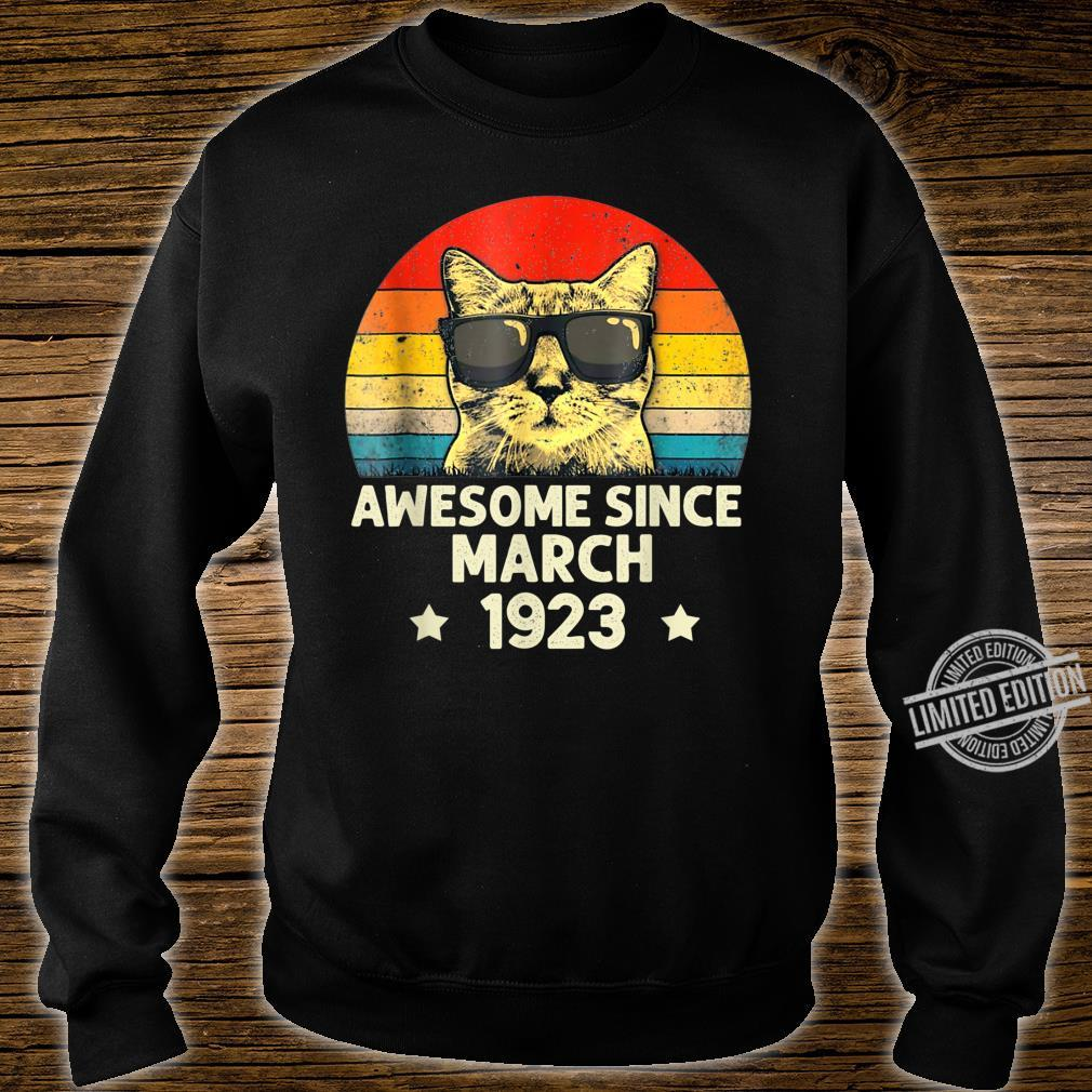 Awesome Since March 1923 97th Birthday Cat Shirt sweater