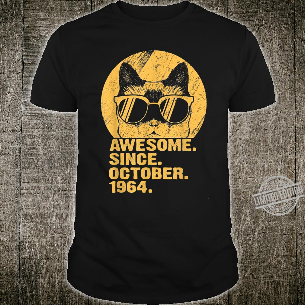 Awesome Since October 1964 55th Birthday Cat Shirt