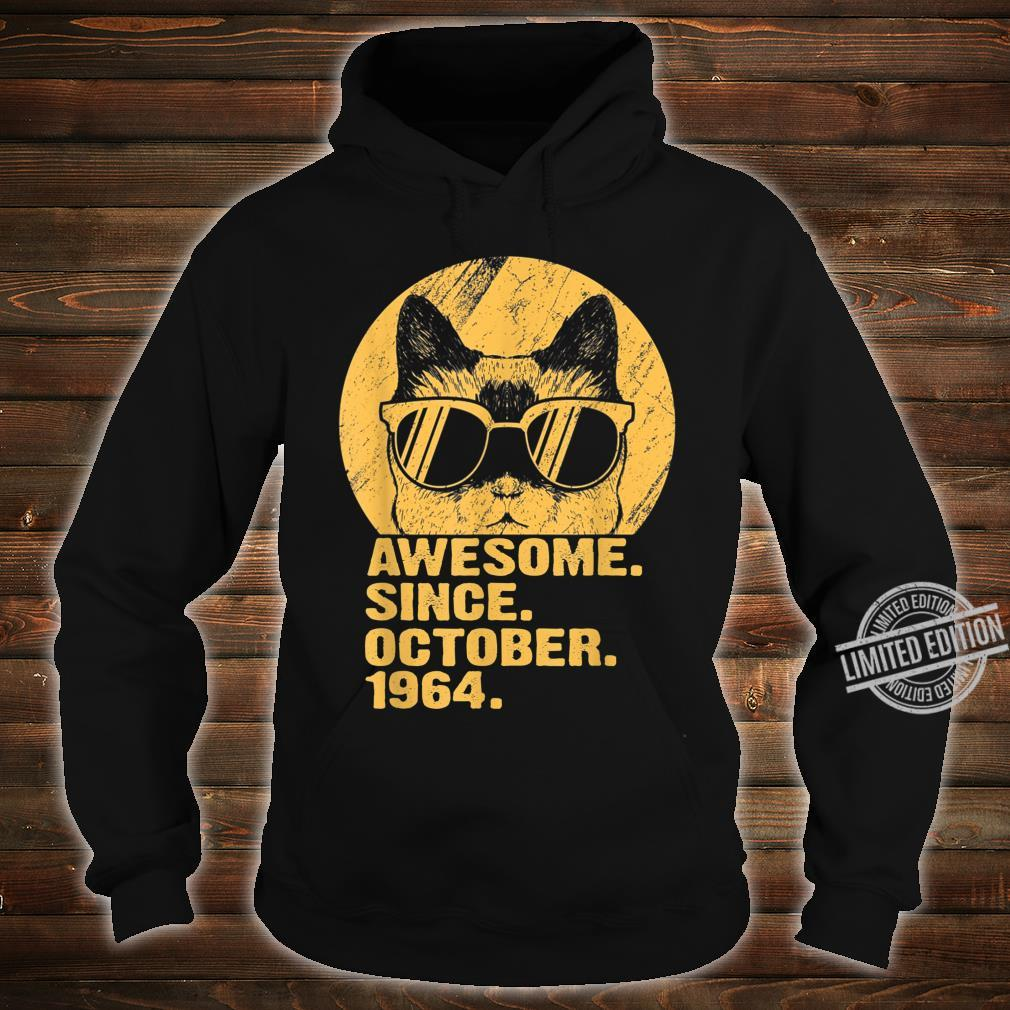 Awesome Since October 1964 55th Birthday Cat Shirt hoodie