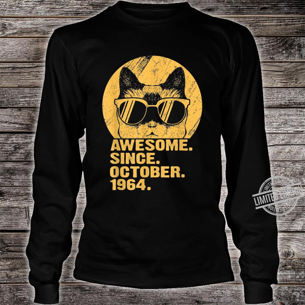Awesome Since October 1964 55th Birthday Cat Shirt long sleeved