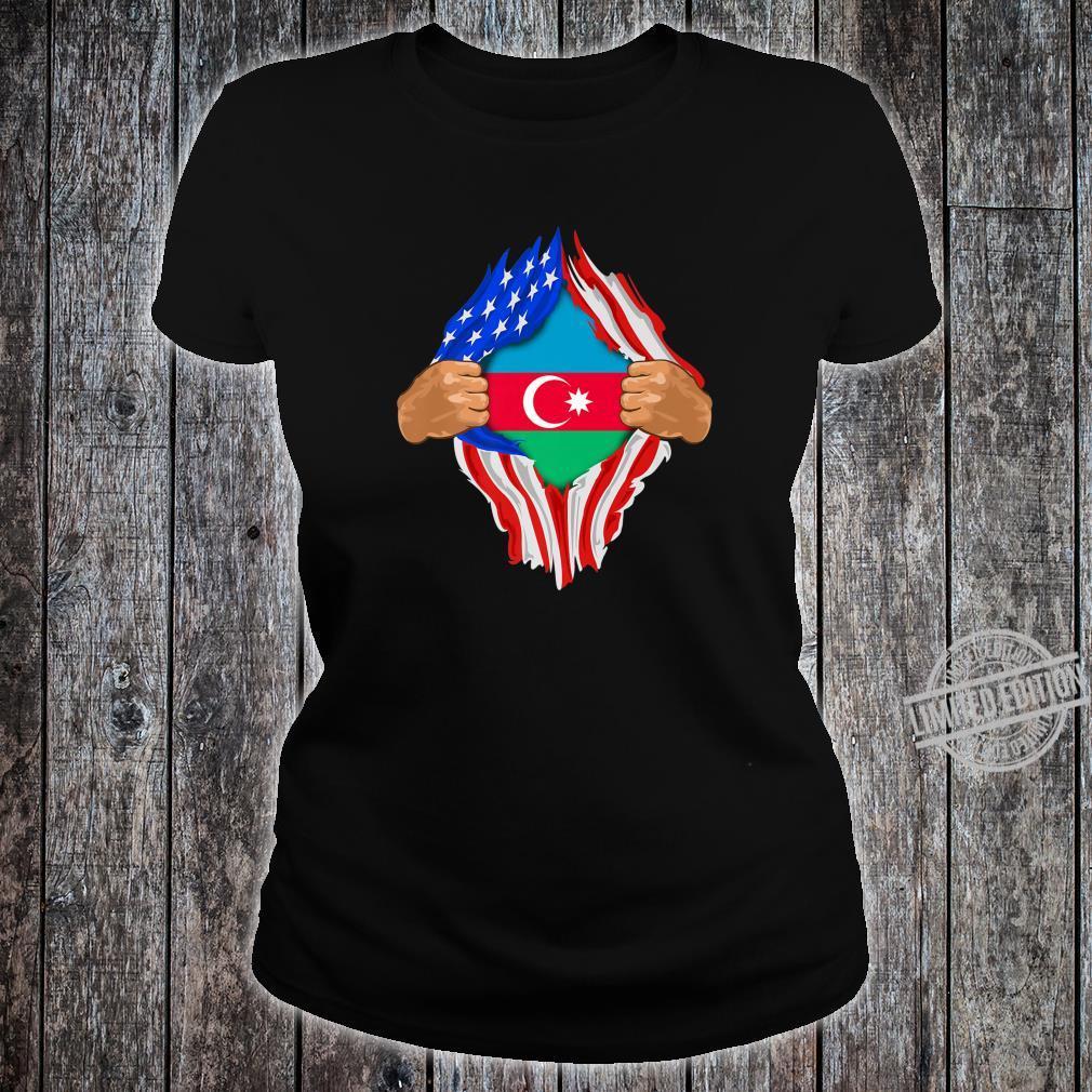 Azeri Blood Inside Me Azerbaijan Flag Shirt ladies tee