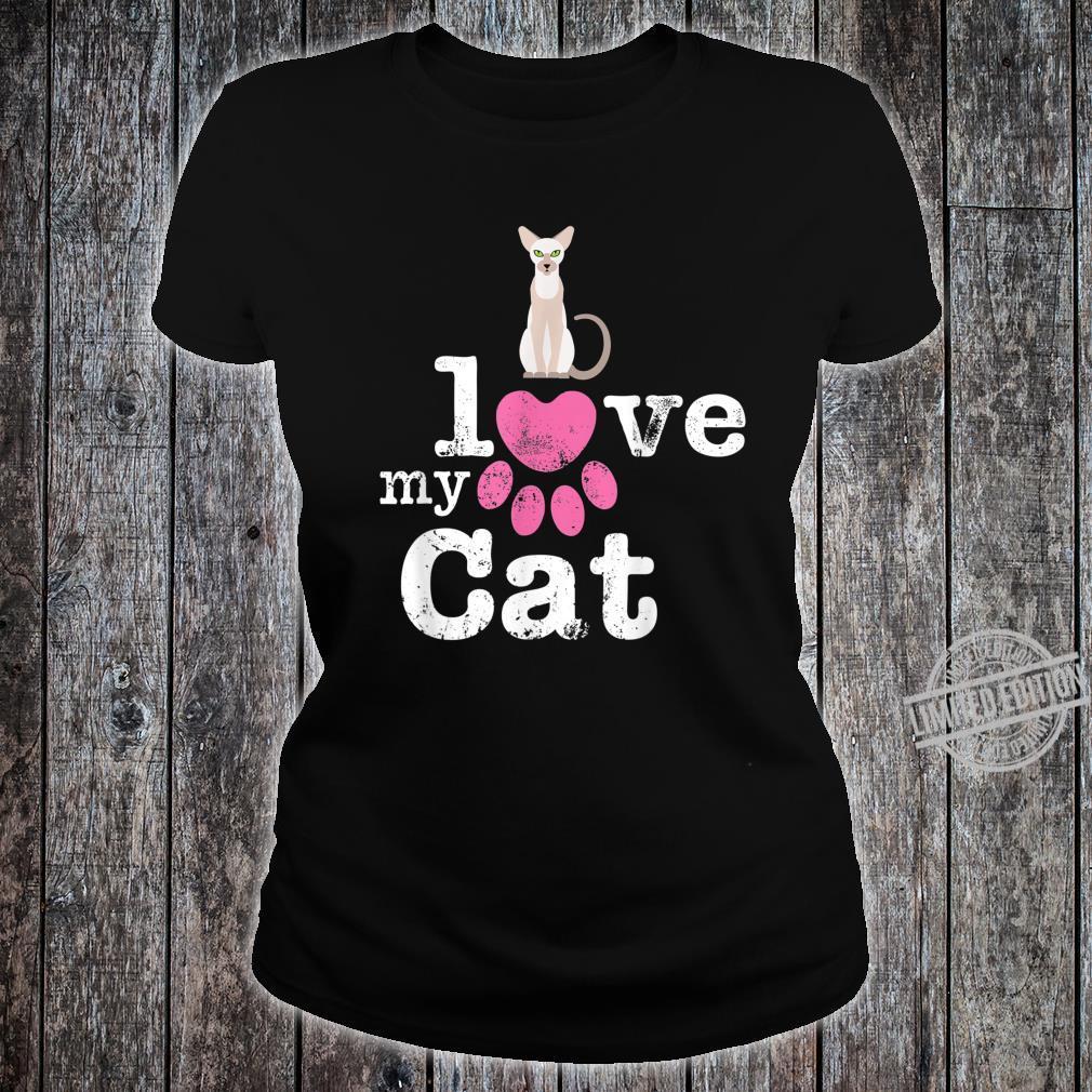 I Love My Cat Siamese Oriental Shorthair Devon Rex Cat Shirt ladies tee
